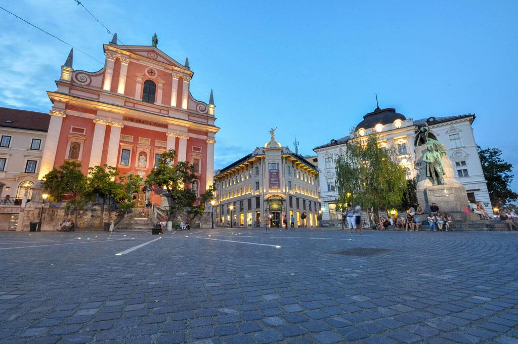Prešeren Square in Ljubljana,  Slovenia