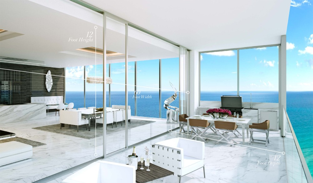 Huge terraces over looking the Atlantic Ocean at Muse miami