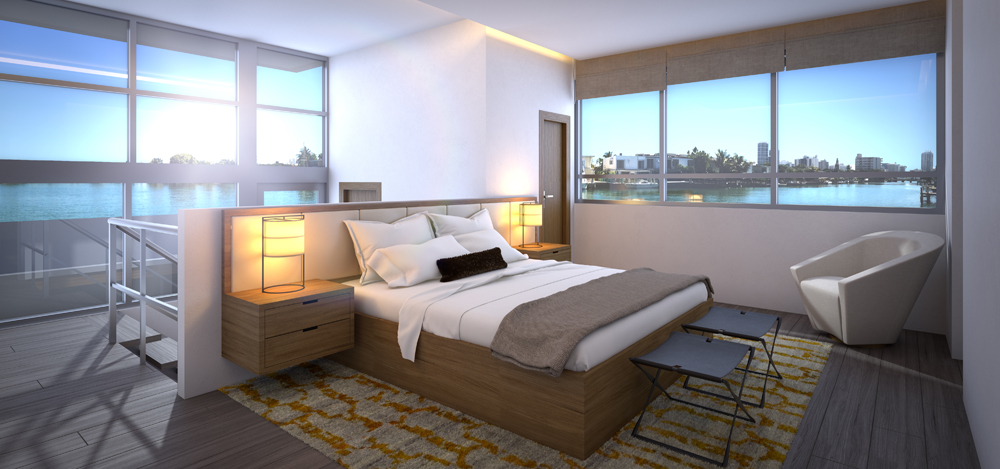 bedroom with views at iris on the bay