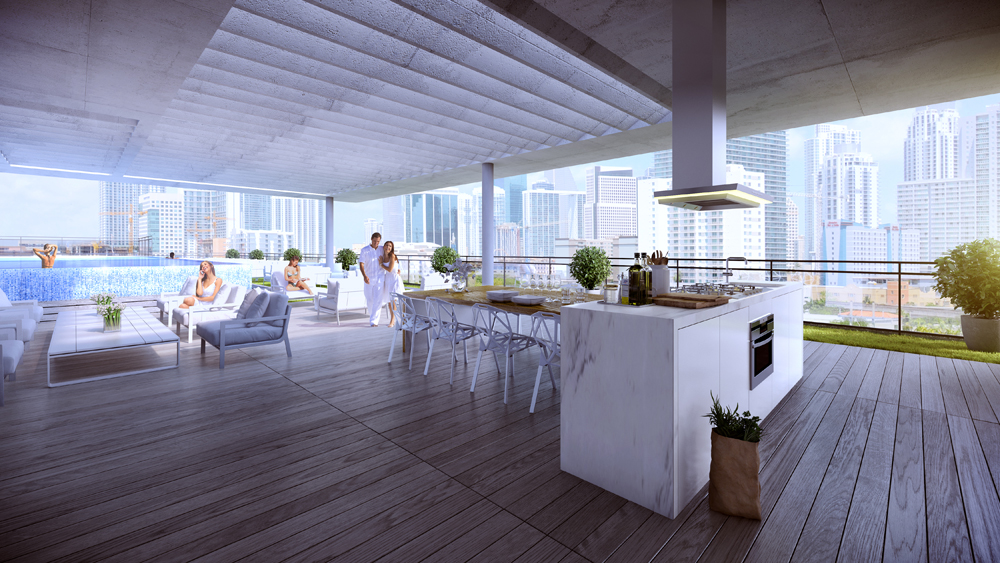 rooftop infinity pool and summer kitchen at Cassa Brickell