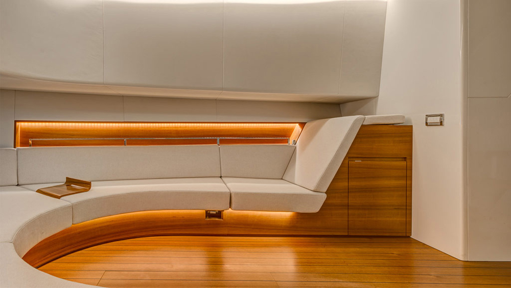 Salon of the 55 Alen yacht day cruiser