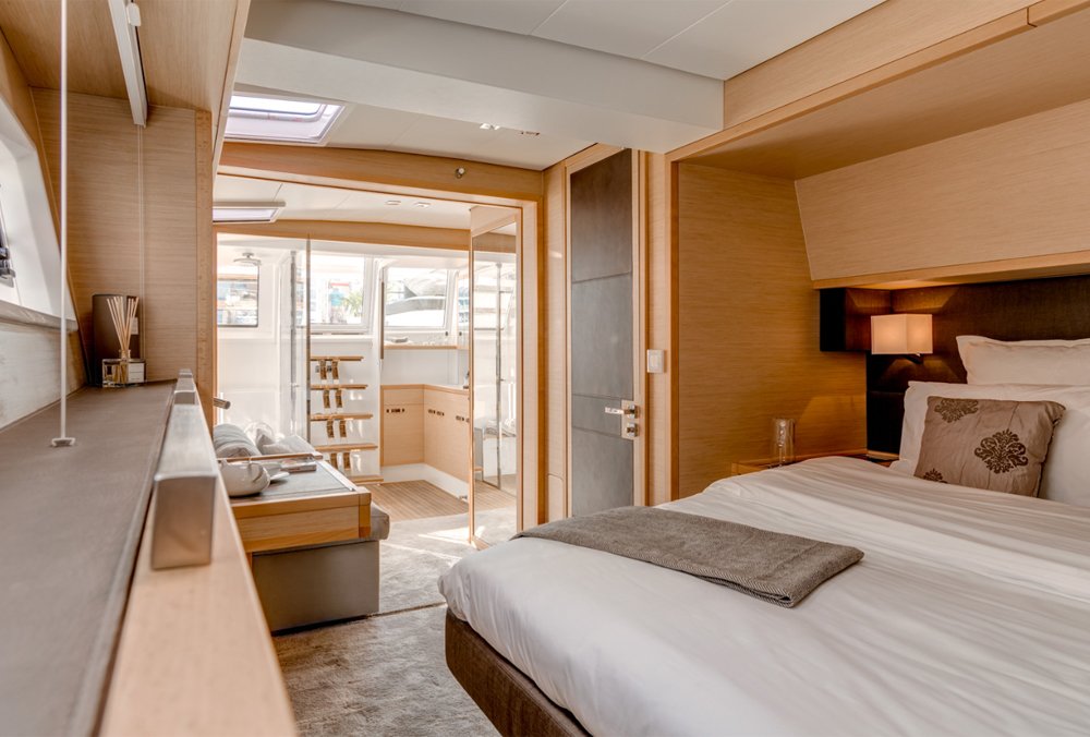 Master stateroom and head in the Lagoon 63 catamaran