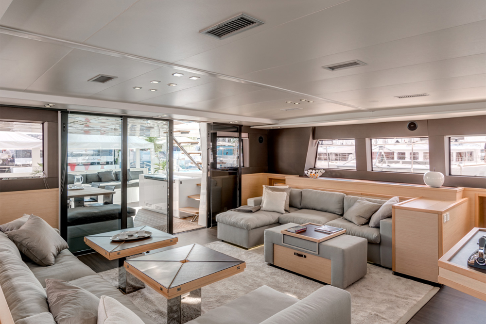 Spacious saloon on the 63 Lagoon motoryacht