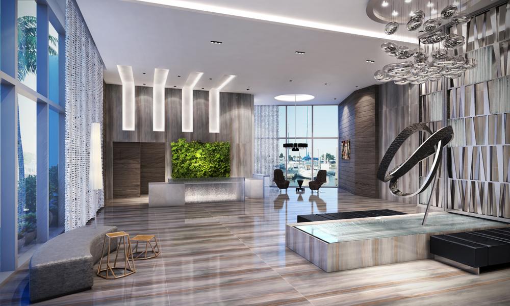 Lobby at Marina Palms Aventura