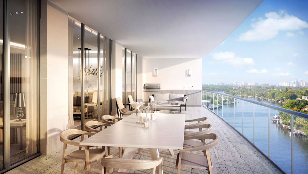Panoramic terrace at RIVA condo