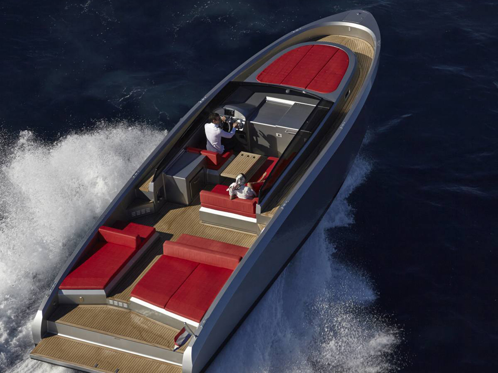 Open deck on the this express cruiser by Vanquish Yachts