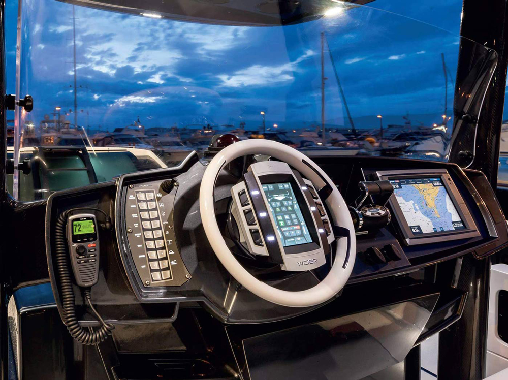 Stylish helm station of the WIDER 42 luxury day cruiser
