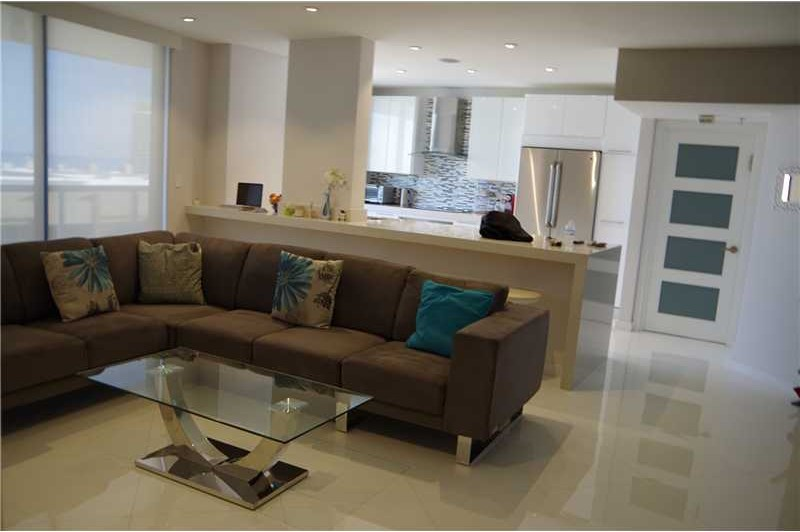 crystal glass tile floors in this condo for rent in miami
