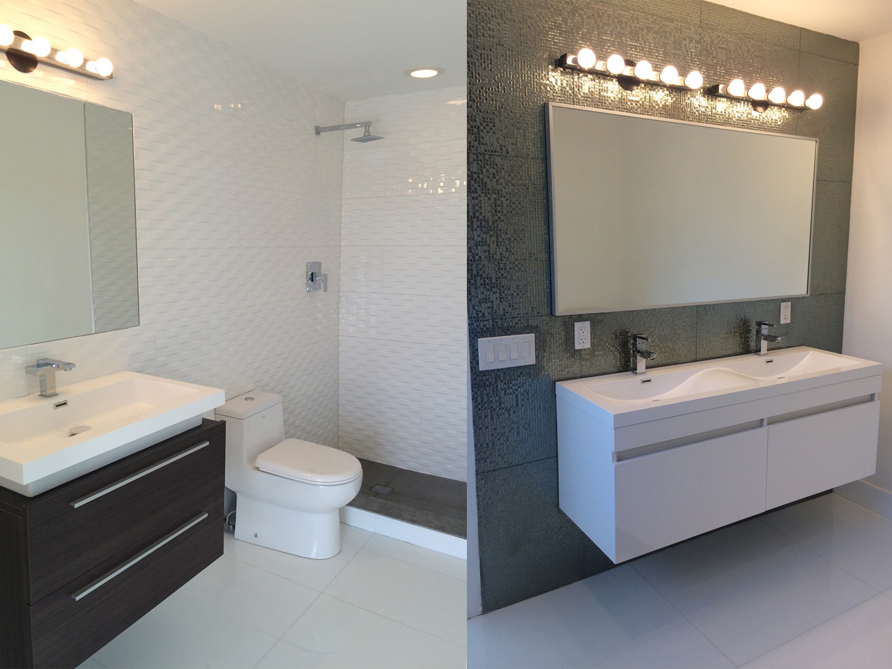 Fully renovated bathrooms throughout this waterfront villa in North Miami