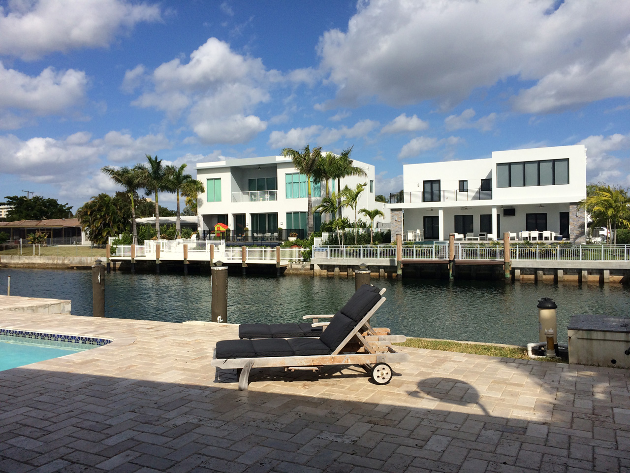 View from the pool in Miami Luxury home for sale. Keystone Point Waterfront Villa For Sale