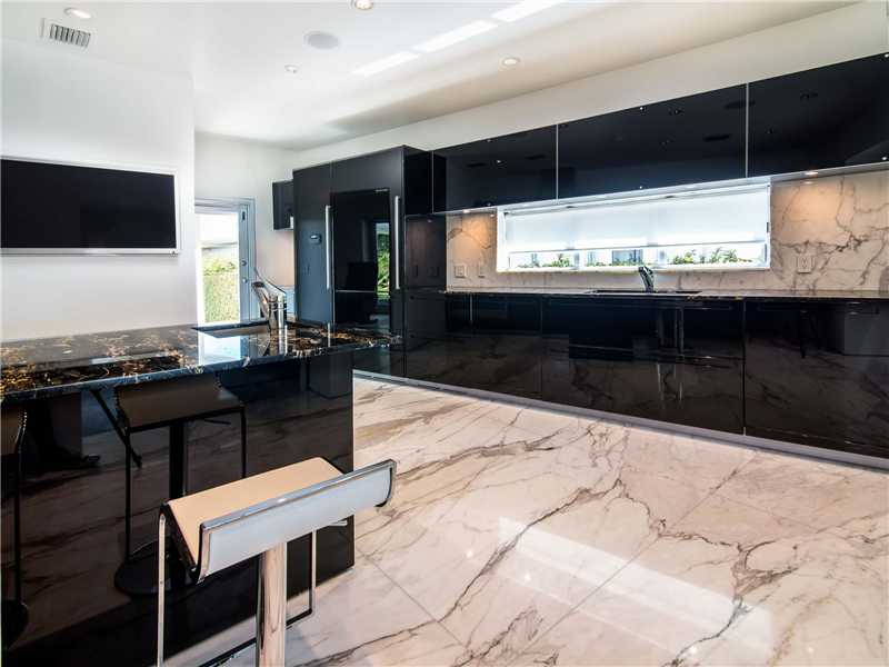 Modern kitchen and new marble floors